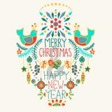 Kerstmisachtergrond met leuke bloemenornament en handtekening Royalty-vrije Stock Foto's