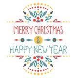 Kerstmisachtergrond met leuke decoratie en teksten Stock Foto