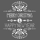 Kerstmisachtergrond met leuke decoratie en teksten Royalty-vrije Stock Afbeeldingen
