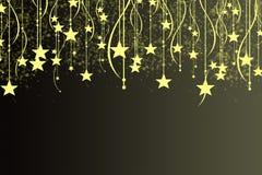 Kerstmisachtergrond met lichtgevende slinger met sterrensneeuwvlokken en plaats voor tekst Stock Afbeeldingen