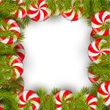 Kerstmisachtergrond met lolly en pijnboomboom Stock Foto's