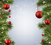 Kerstmisachtergrond met nette takken Stock Foto