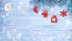 Kerstmisachtergrond met Ornamenten Royalty-vrije Stock Foto's