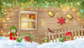 Kerstmisachtergrond met Ornamenten royalty-vrije stock fotografie