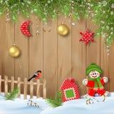 Kerstmisachtergrond met Ornamenten stock fotografie
