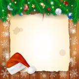 Kerstmisachtergrond met perkament Royalty-vrije Stock Afbeeldingen