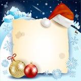 Kerstmisachtergrond met perkament, hoed en snuisterijen Stock Foto's