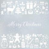 Kerstmisachtergrond met pictogrammen royalty-vrije illustratie