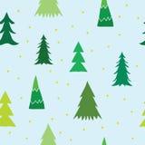 Kerstmisachtergrond met pijnboombomen Leuk bomen naadloos patroon voor Nieuwjaaruitnodiging, de kaart van de Kerstmisgroet Royalty-vrije Stock Afbeeldingen