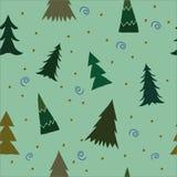 Kerstmisachtergrond met pijnboombomen Leuk krabbel naadloos patroon voor Nieuwjaaruitnodiging, de kaart van de Kerstmisgroet Royalty-vrije Stock Afbeelding