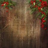 Kerstmisachtergrond met poinsettia, maretak, hulst op grunge Royalty-vrije Stock Fotografie