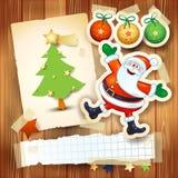 Kerstmisachtergrond met prentbriefkaar en grappige Santa Claus Stock Afbeeldingen