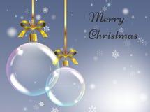 Kerstmisachtergrond met realistische ballen Kerstmissnuisterijen Greetin Stock Fotografie