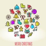 Kerstmisachtergrond met reeks pictogrammen Stock Afbeeldingen