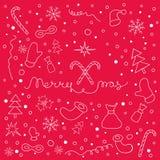 Kerstmisachtergrond met reeks van Kerstmis dingen en het van letters voorzien Stock Afbeelding