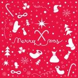 Kerstmisachtergrond met reeks van Kerstmis dingen en het van letters voorzien Royalty-vrije Stock Afbeeldingen