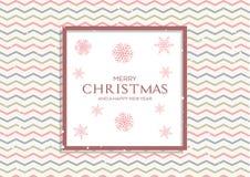 Kerstmisachtergrond met retro patroon en sneeuwvlokken stock illustratie