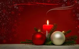 Kerstmisachtergrond met rode brandende kaars Royalty-vrije Stock Foto