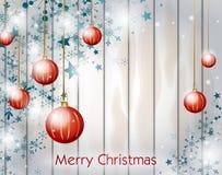 Kerstmisachtergrond met rode Kerstmisbollen Royalty-vrije Stock Fotografie