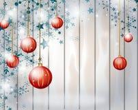 Kerstmisachtergrond met rode Kerstmisbollen Stock Afbeelding
