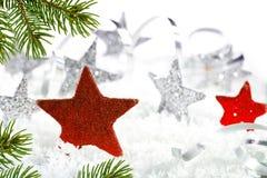 Kerstmisachtergrond met rode sterren Royalty-vrije Stock Fotografie