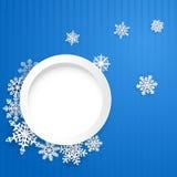 Kerstmisachtergrond met ronde kader en sneeuwvlokken Stock Fotografie