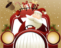 Kerstmisachtergrond met Santa Claus Stock Afbeelding