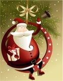 Kerstmisachtergrond met Santa Claus Stock Afbeeldingen