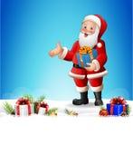 Kerstmisachtergrond met Santa Claus die een lange lijst van giften lezen Stock Foto's