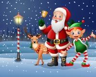 Kerstmisachtergrond met Santa Claus, herten en elf Stock Afbeeldingen