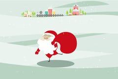 Kerstmisachtergrond met Santa Claus, huis en kerk Stock Afbeelding