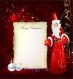 Kerstmisachtergrond met santa en brief templat royalty-vrije illustratie