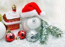 Kerstmisachtergrond met sneeuw Stock Foto's