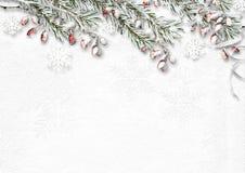 Kerstmisachtergrond met sneeuw behandelde spartakken en rode berr Royalty-vrije Stock Fotografie