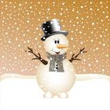 Kerstmisachtergrond met sneeuwman Royalty-vrije Stock Fotografie