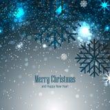 Kerstmisachtergrond met sneeuwvlokken Stock Afbeelding