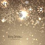 Kerstmisachtergrond met sneeuwvlokken Stock Foto