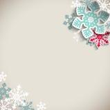 Kerstmisachtergrond met sneeuwvlokken, de winter Royalty-vrije Stock Afbeeldingen