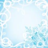 Kerstmisachtergrond met sneeuwvlokken en een blizzard Stock Foto's