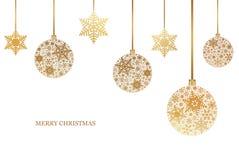 Kerstmisachtergrond met sneeuwvlokken en Kerstmisballen met sneeuwvlokornament Vrolijke Kerstmis Royalty-vrije Stock Afbeeldingen
