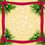 Kerstmisachtergrond met sneeuwvlokken, Kerstmisboom Stock Afbeeldingen