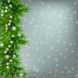 Kerstmisachtergrond met sneeuwvlokken, Kerstmisboom Royalty-vrije Stock Afbeeldingen