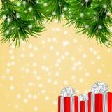 Kerstmisachtergrond met sneeuwvlokken, Kerstmisboom Stock Afbeelding