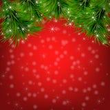 Kerstmisachtergrond met sneeuwvlokken, Kerstmisboom Stock Fotografie
