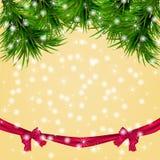 Kerstmisachtergrond met sneeuwvlokken, Kerstmisboom Royalty-vrije Stock Foto