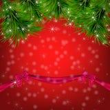 Kerstmisachtergrond met sneeuwvlokken, Kerstmisboom Stock Foto