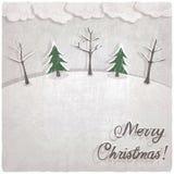 Kerstmisachtergrond met snow-covered bomen royalty-vrije illustratie