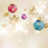 Kerstmisachtergrond met snuisterijen. Royalty-vrije Stock Foto