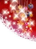 Kerstmisachtergrond met snuisterijen. Stock Foto