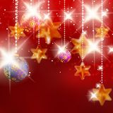Kerstmisachtergrond met snuisterijen. Royalty-vrije Stock Afbeelding